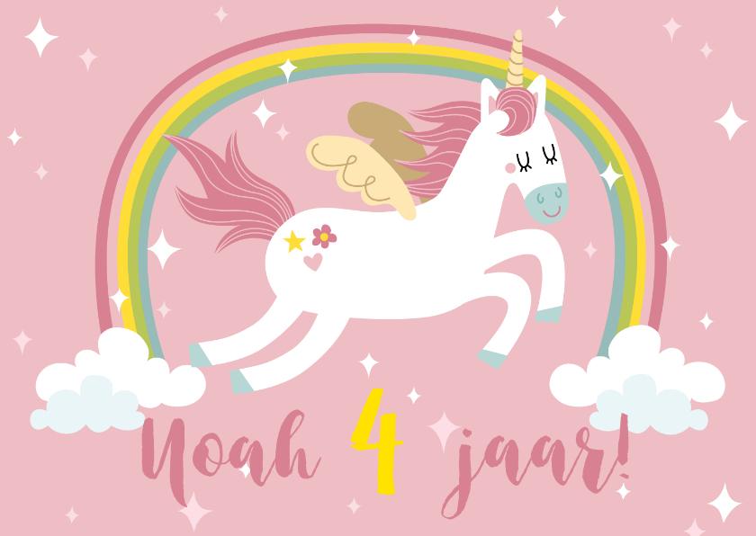 Kinderfeestjes - Kinderfeestje uitnodiging met unicorn en regenboog