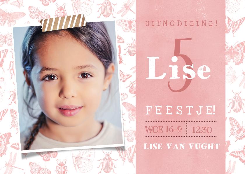 Kinderfeestjes - Kinderfeestje uitnodiging met vlinders voor een meisje