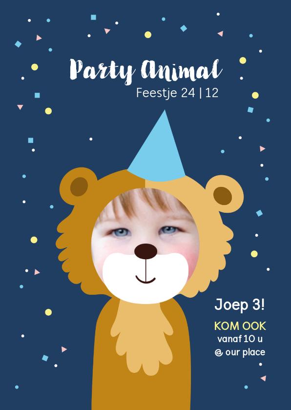 Kinderfeestjes - Kinderfeestje uitnodiging party animal jongen als beer