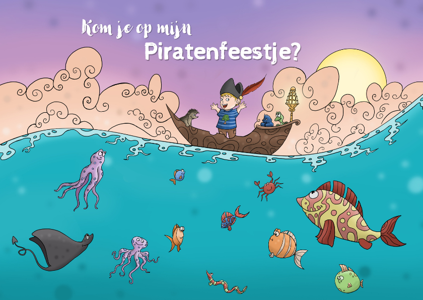 Kinderfeestjes - Kinderfeestje uitnodiging Piratenfeest