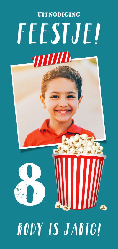 Kinderfeestjes - Kinderfeestje uitnodiging popcorn met eigen foto