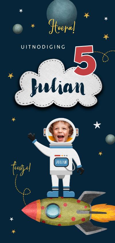 Kinderfeestjes - Kinderfeestje uitnodiging ruimte space raket foto