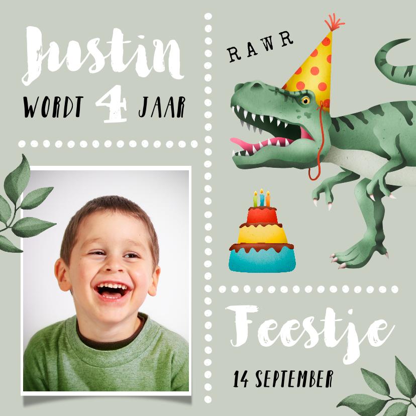 Kinderfeestjes - Kinderfeestje uitnodiging stoer met T-rex en taart