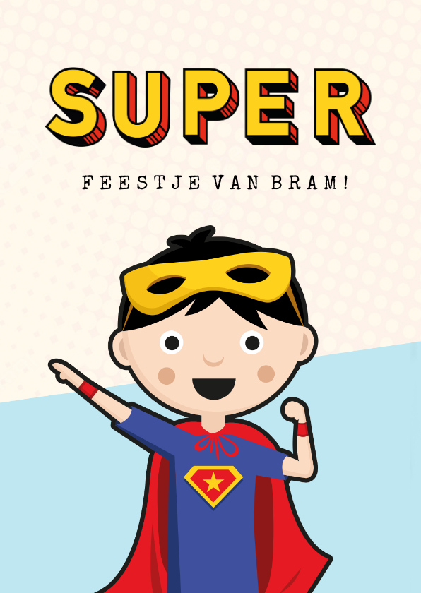 Kinderfeestjes - Kinderfeestje uitnodiging superhelden feestje jongen