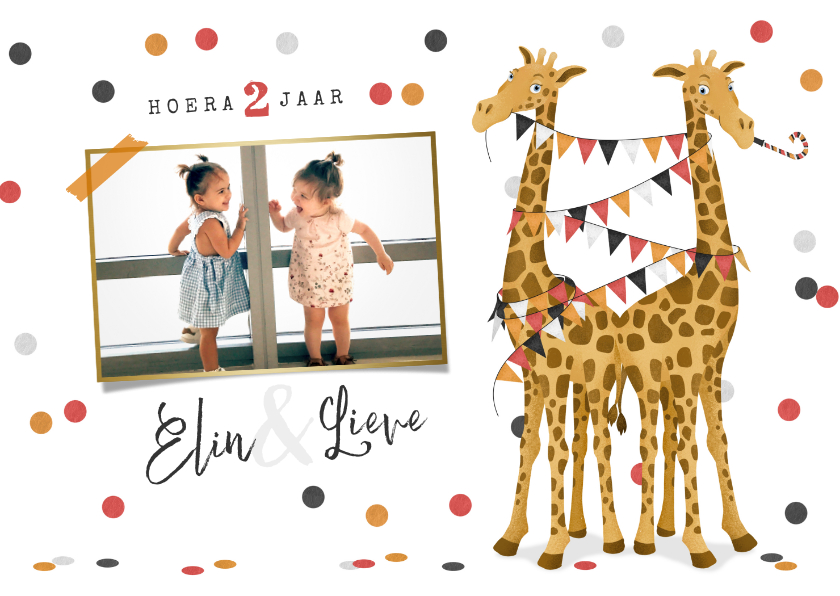 Kinderfeestjes - Kinderfeestje uitnodiging tweeling giraf meisje slingers