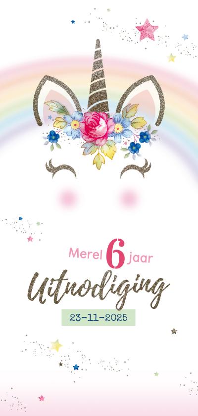Kinderfeestjes - Kinderfeestje uitnodiging unicorn met bloemen en sterren