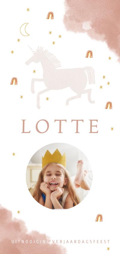 Kinderfeestjes - Kinderfeestje uitnodiging unicorn met roze waterverf