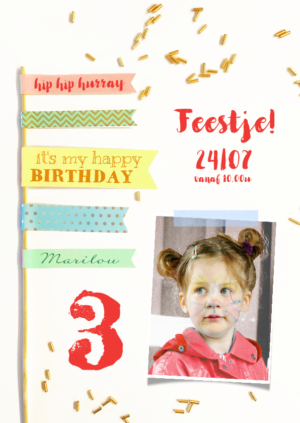 Kinderfeestjes - Kinderfeestje uitnodiging vlaggen hip
