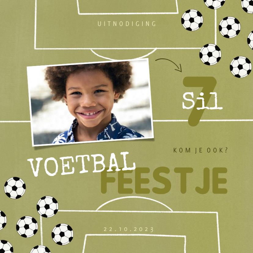 Kinderfeestjes - Kinderfeestje uitnodiging voetballen en foto