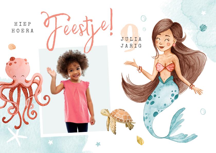 Kinderfeestjes - Kinderfeestje uitnodiging zeemeermin dieren water foto