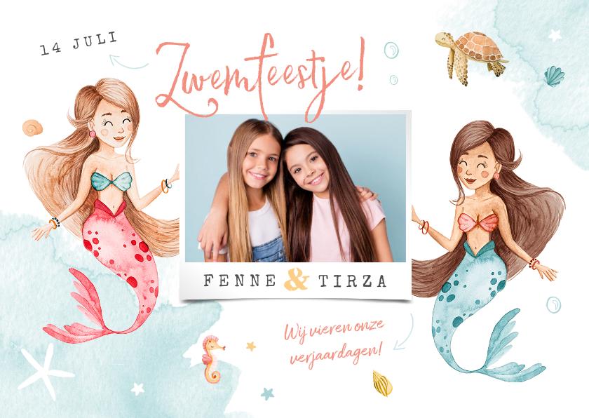 Kinderfeestjes - Kinderfeestje uitnodiging zeemeerminnen samen zwemfeest