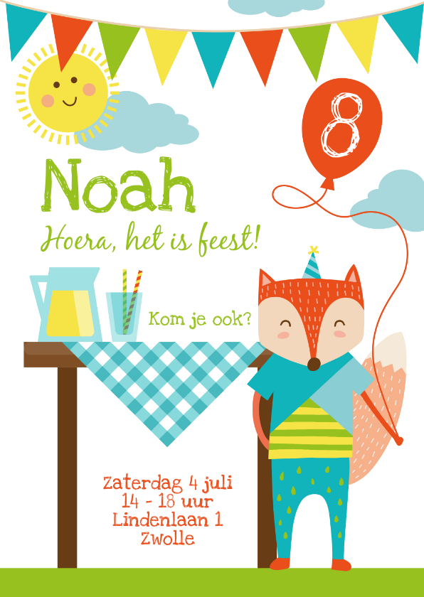 Kinderfeestjes - Kinderfeestje uitnodiging zomerfeestje jongen