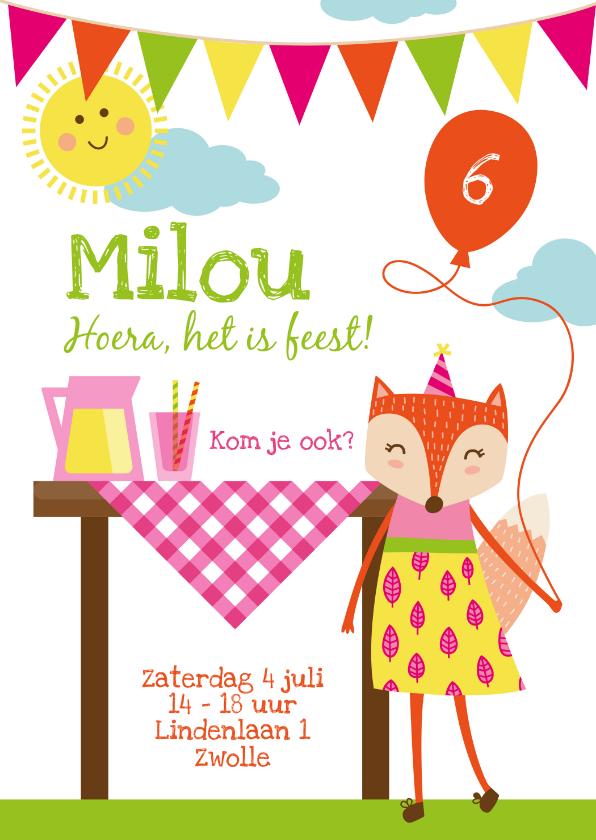 Kinderfeestjes - Kinderfeestje uitnodiging zomerfeestje meisje