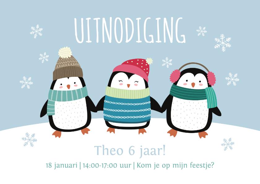 Kinderfeestjes - Kinderfeestje uitnodigingskaart pinguïns blauw