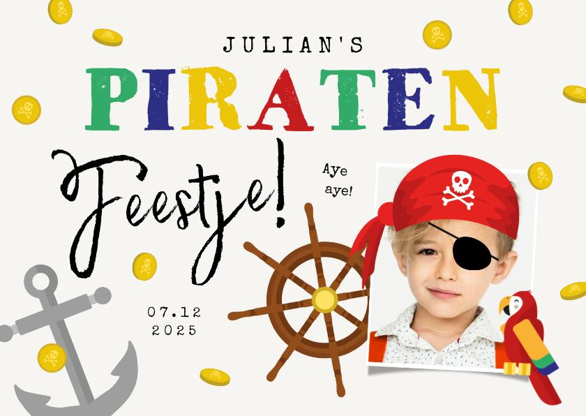 Kinderfeestjes - Kinderfeestje uitnodigingskaart piraten schatkist