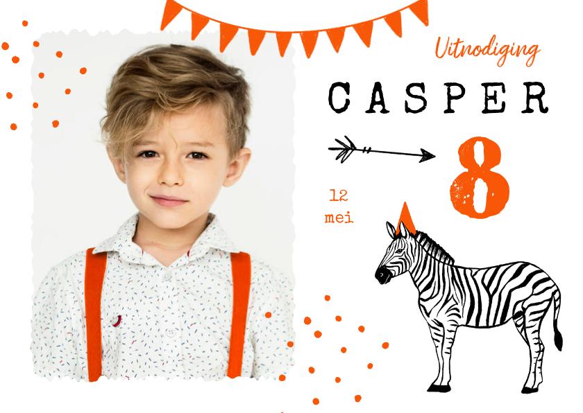 Kinderfeestjes - Kinderfeestje zebra oranje feest foto slingers confetti