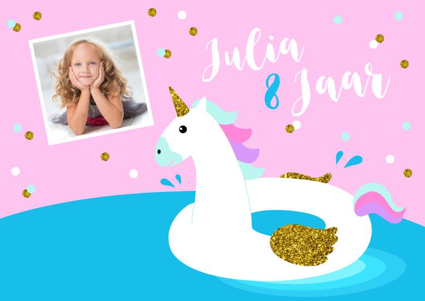 Kinderfeestjes - Kinderfeestje zwemmen eenhoorn foto confetti