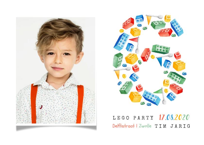 Kinderfeestjes - Lego uitnodiging kinderfeestje 6 jaar fotokaart vrolijk