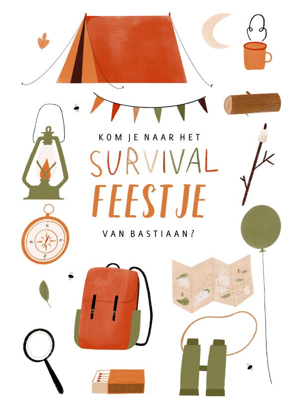 Kinderfeestjes - Leuk kinderfeestje survival kampeer outdoor illustratie