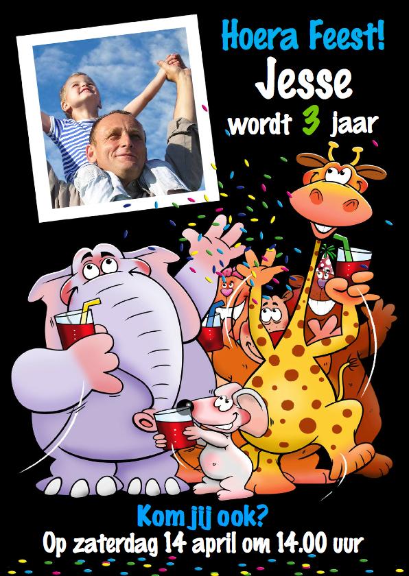 Kinderfeestjes - Leuke uitnodiging kinderfeest met grappige dieren en foto