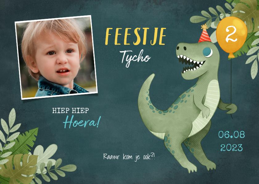 Kinderfeestjes - Leuke uitnodiging kinderfeestje met dino, ballon en jungle