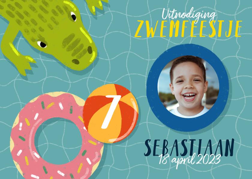 Kinderfeestjes - Leuke uitnodiging kinderfeestje met zwembanden en krokodil