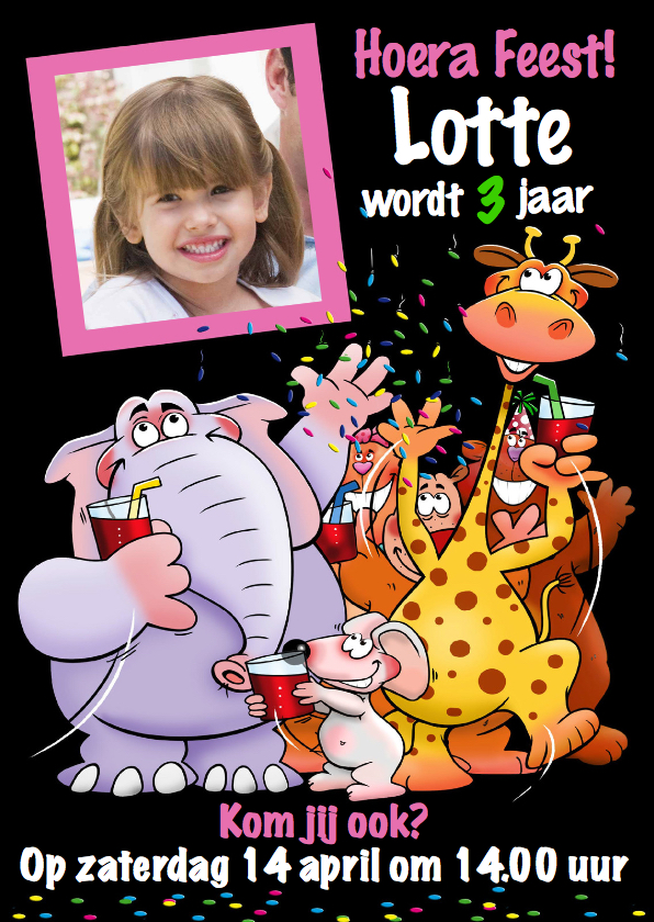 Kinderfeestjes - Leuke uitnodiging kinderfeestje voor meisje grappige dieren