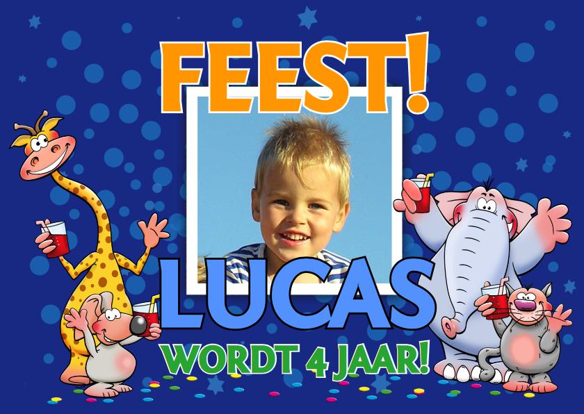 Kinderfeestjes - Leuke uitnodiging voor een kinderfeest met grappige dieren