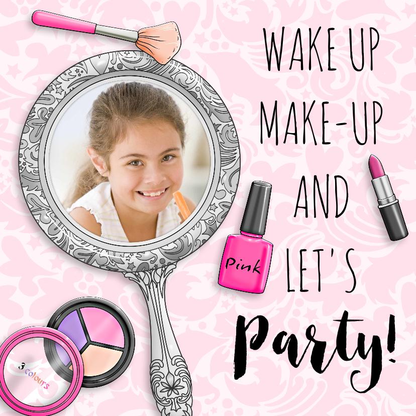 Kinderfeestjes - Leuke uitnodiging voor een slaapfeestje met spiegel