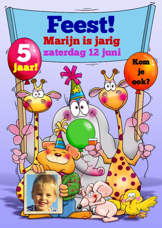 Kinderfeestjes - Leuke uitnodiging voor kinderfeest met grappige dieren