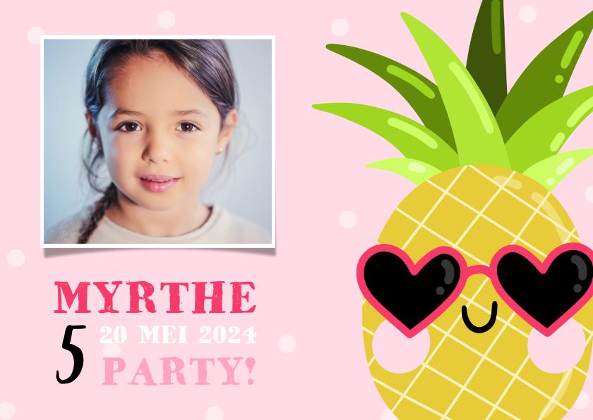 Kinderfeestjes - Lieve uitnodiging kinderfeestje ananas met zonnebril