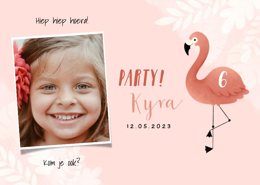 Kinderfeestjes - Lieve uitnodiging kinderfeestje flamingo, bladeren en foto