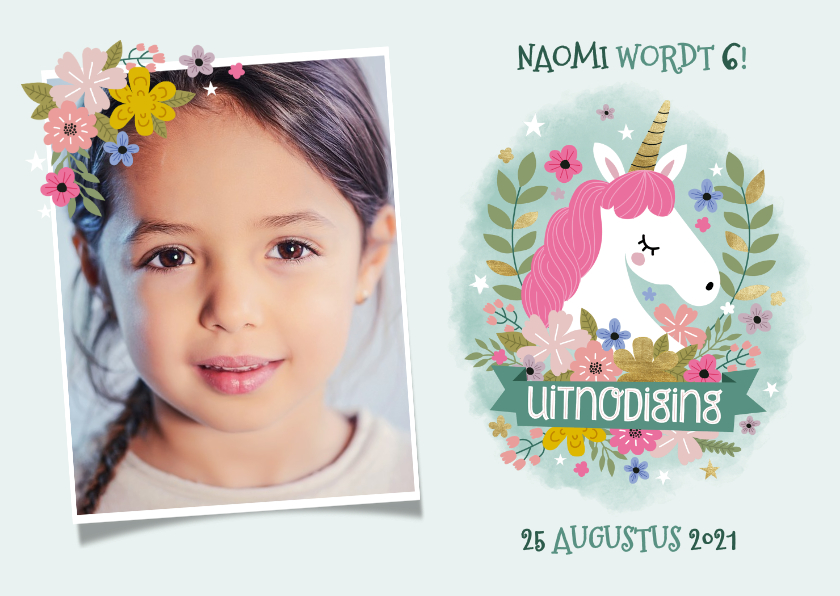 Kinderfeestjes - Lieve uitnodiging kinderfeestje met eenhoorn, bloemen & foto