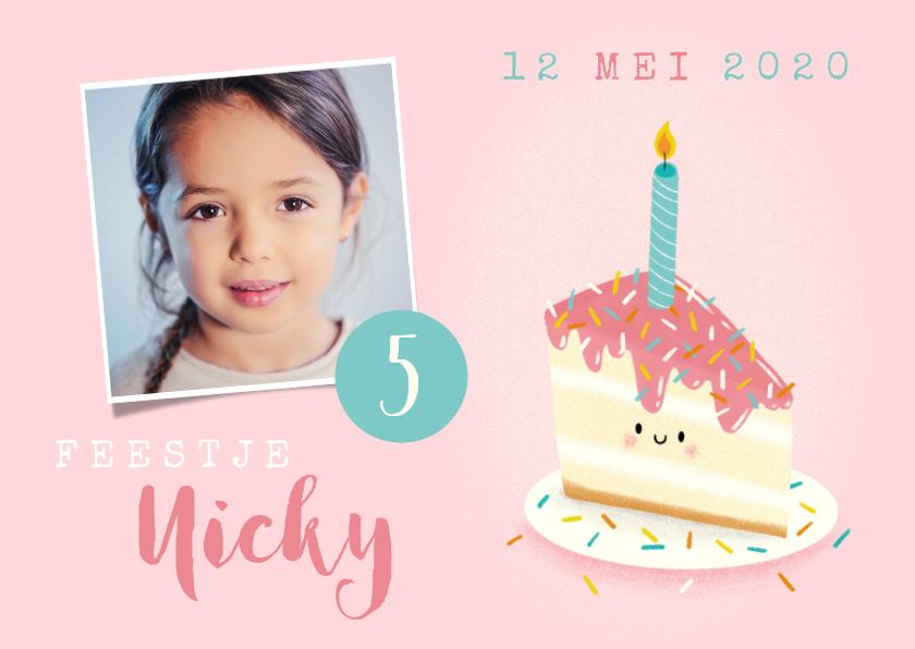 Kinderfeestjes - Lieve uitnodiging kinderfeestje met taartje, foto & leeftijd