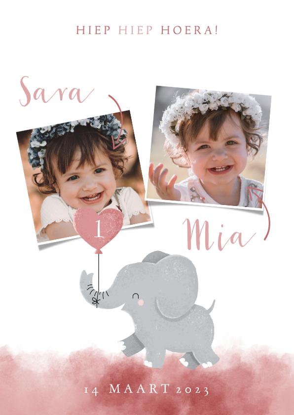 Kinderfeestjes - Lieve uitnodiging kinderfeestje voor tweeling met olifantje