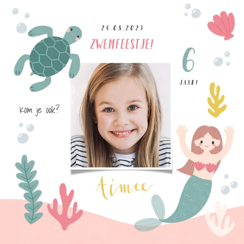 Kinderfeestjes - Lieve uitnodiging kinderfeestje zeemeermin, schildpad & foto