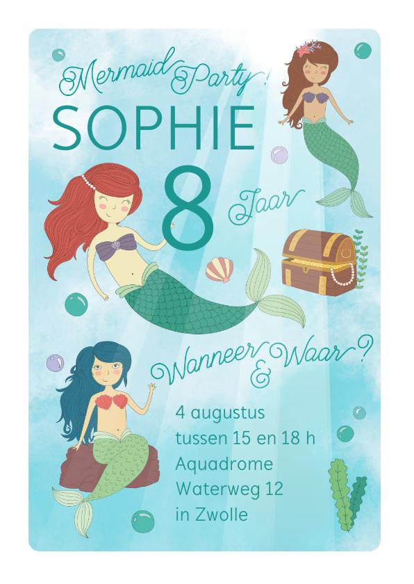 Kinderfeestjes - Mermaidparty uitnodiging meisje