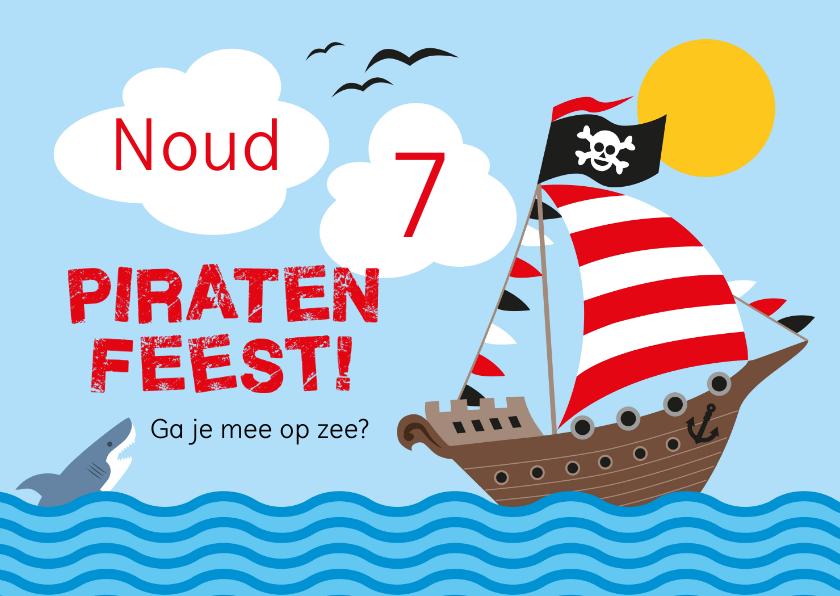 Kinderfeestjes - Piratenfeest uitnodiging piratenschip