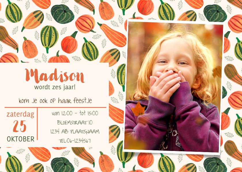 Kinderfeestjes - Pompoenen uitnodiging herfst feestje Halloween