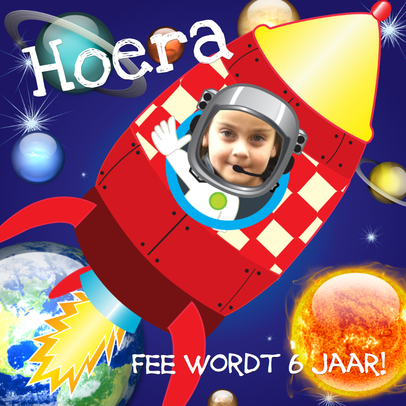 Kinderfeestjes - Raket uitnodigingskaart