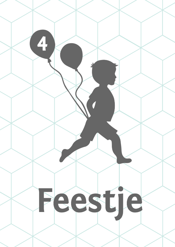 Kinderfeestjes - Silhouet uitnodiging jongen met ballonnen