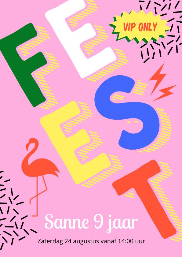 Kinderfeestjes - Stoere roze retro uitnodiging kinderfeestje meisje