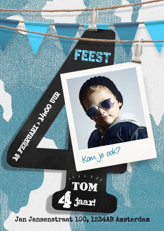 Kinderfeestjes - Stoere uitnodiging 4 jaar jongen