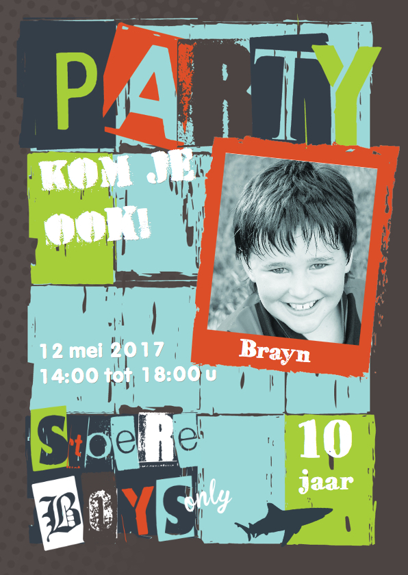 Kinderfeestjes - Stoere uitnodiging kinderfeestje Brayn