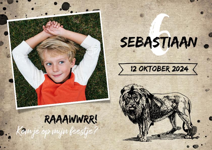 Kinderfeestjes - Stoere uitnodiging kinderfeestje met leeuw en spetters