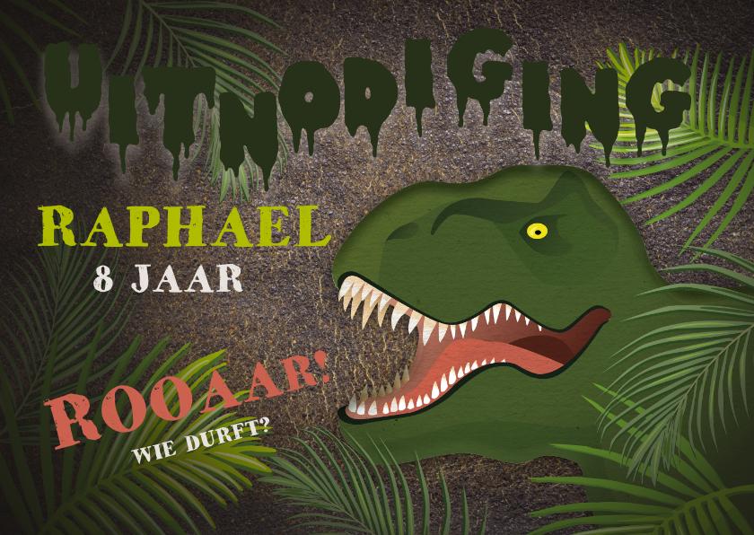 Kinderfeestjes - Stoere uitnodiging kinderfeestje t-rex jungle