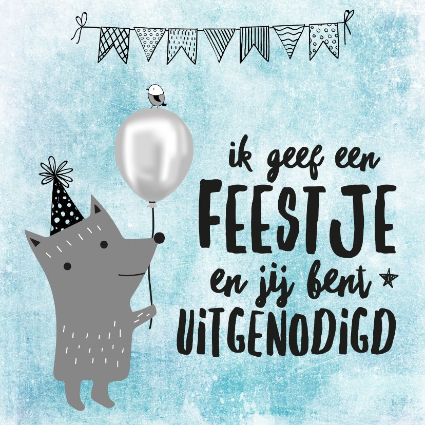 Kinderfeestjes - Stoere uitnodiging verjaardag 'Ik geef een feestje...'
