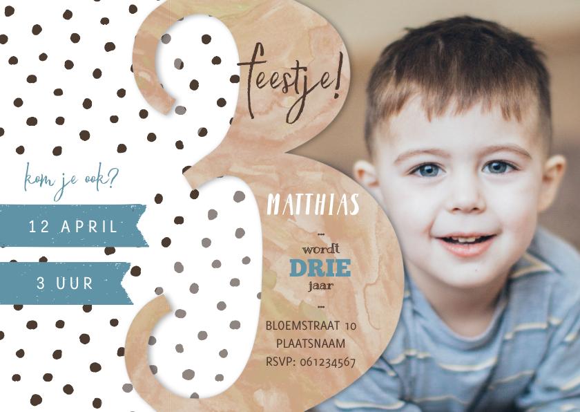 Kinderfeestjes - Stoere uitnodiging voor derde verjaardag waterverf.
