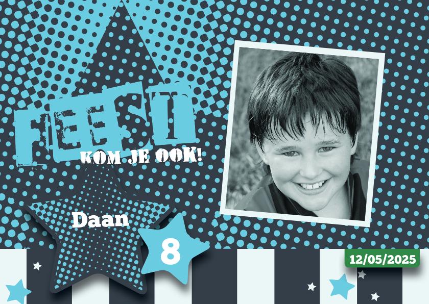 Kinderfeestjes - Strip uitnodiging kinderfeestje Daan