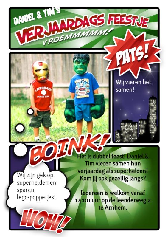Kinderfeestjes - Stripboek kinderfeestje groen